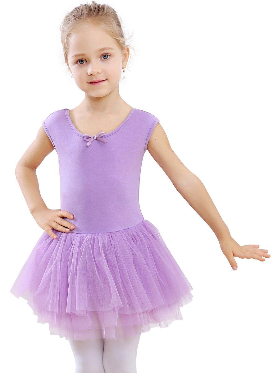 STELLE Toddler/Girls Tank Tutu Dress Leotard for Dance, Gymnastics and Ballet(Purple, 100cm(5Y))