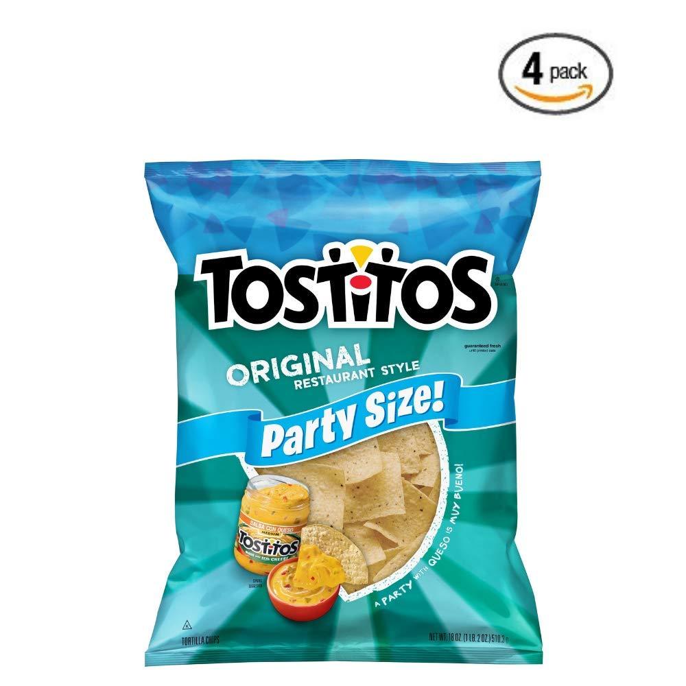Tostitos Original Restaurant Style Tortilla Chips, Party Size, 18 oz Bag - 4 pack