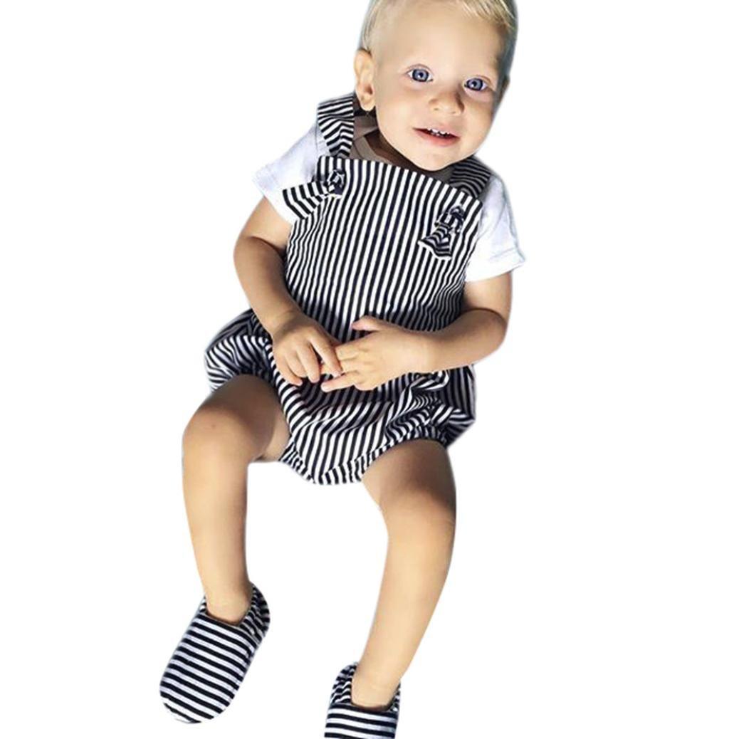 SamMoSon Pagliaccetto Neonato Pagliaccetto Ragazze Senza Maniche Striscia Senza Schienale Stampa Stampare Pagliaccetto Abiti Set Outfit