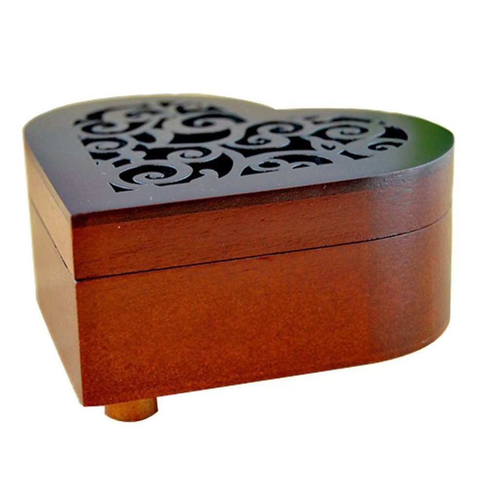 Antique Engraved Wooden Wind-Up Musical Box,You Are My Sunshine Musical Box,with Silver-plating Movement in,Heart-shaped by FnLy (Image #7)
