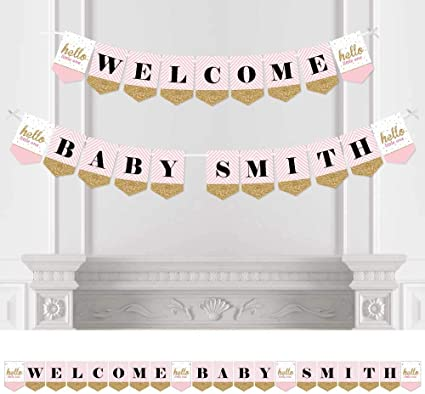 Princess Age or Name Banner garland Pink Gold or choose your own colors Birthday Party Decor
