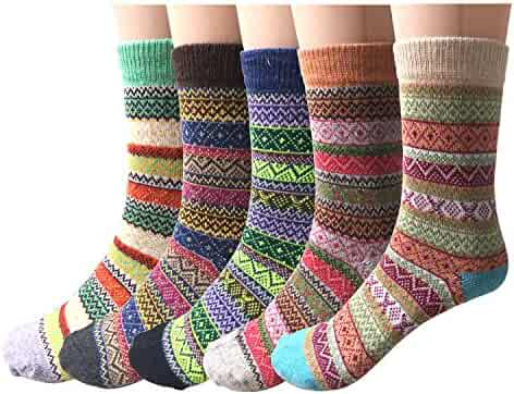 Pack of 5 Womens Vintage Style Thick Wool Warm Winter Crew Socks
