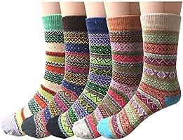 YSense 5 Paar Damen Winter Wollsocken, atmungsaktive weiche dicke Socken bunte Farbe Premium Qualität klimaregulierende...