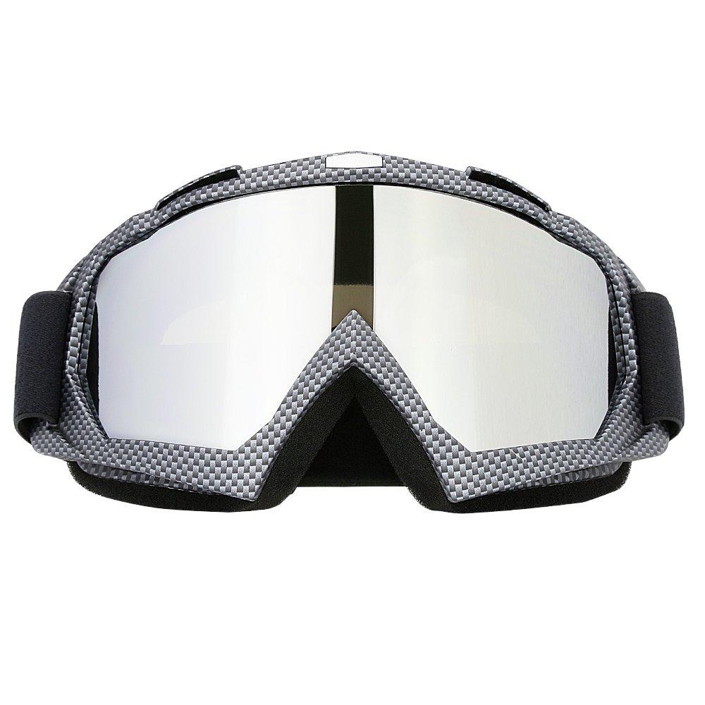 Professtional Adult Motorcycle Motocross Dirt Bike ATV Goggles OTG Goggle for Men Women Youth Kids (C86 Black Fiber)