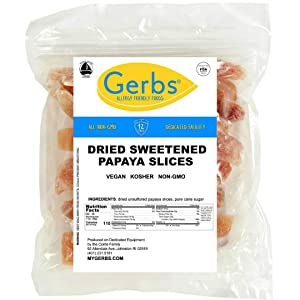 GERBS Dried Sweetened Papaya Slices, 64 ounce Bag, Unsulfured, Preservative, Top 14 Food Allergy Free