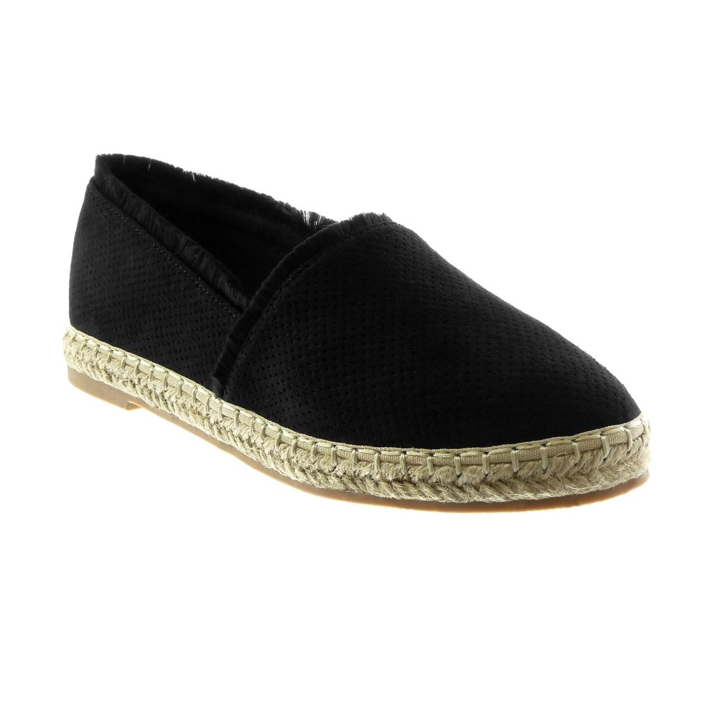 Angkorly Corde Chaussure 19196 Mode Espadrille Espadrille Sandale Slip-on Femme Perforée Corde Effiloché Talon Bloc 2 cm Noir 8161e12 - reprogrammed.space
