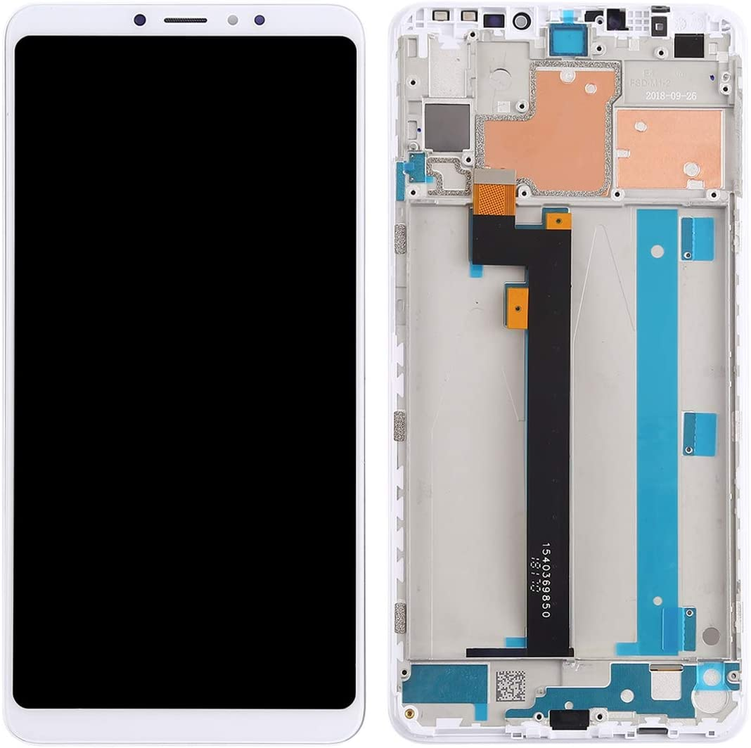 MOBILEACCESSORIES for Tang YI MING Mi Max 3 LCD Screen and Digitizer Full Assembly with Frame for Xiaomi Mi Max 3 Black Color : White