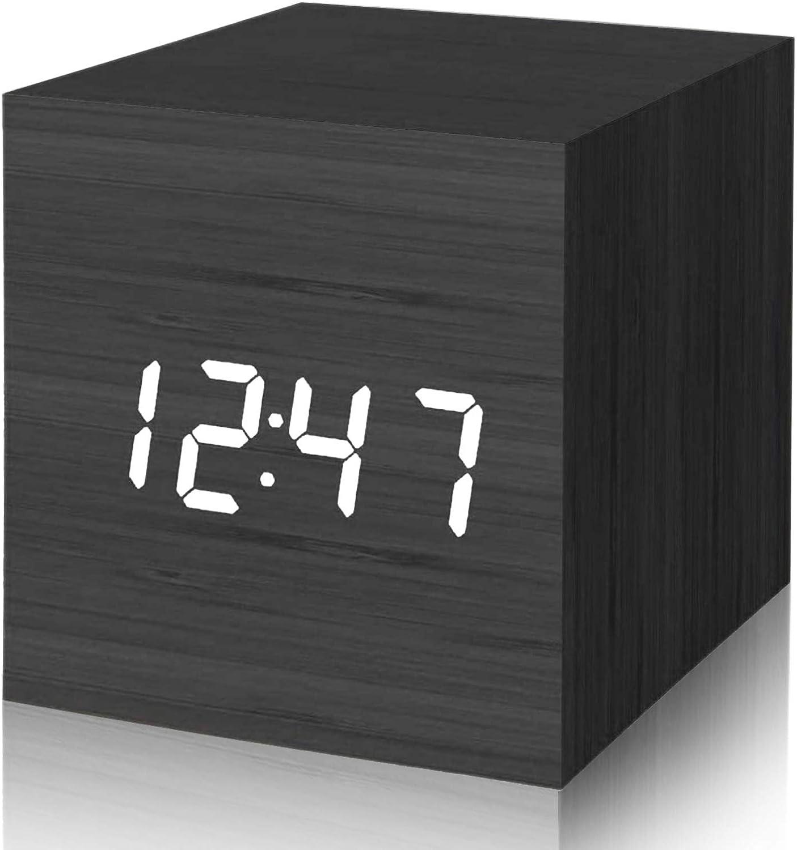 SANBLOGAN Reloj Despertador Digital, Reloj de Madera Reloj Despertador electrónico con Control de Voz Inteligente de Madera Brillo Ajustable para decoración de Oficina y Dormitorio