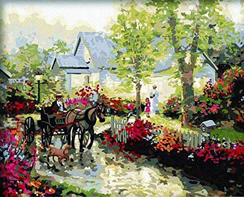 LB Diy Digital Oil Painting And Paint By Number Kits Countryside Scenery 16X20 Inch