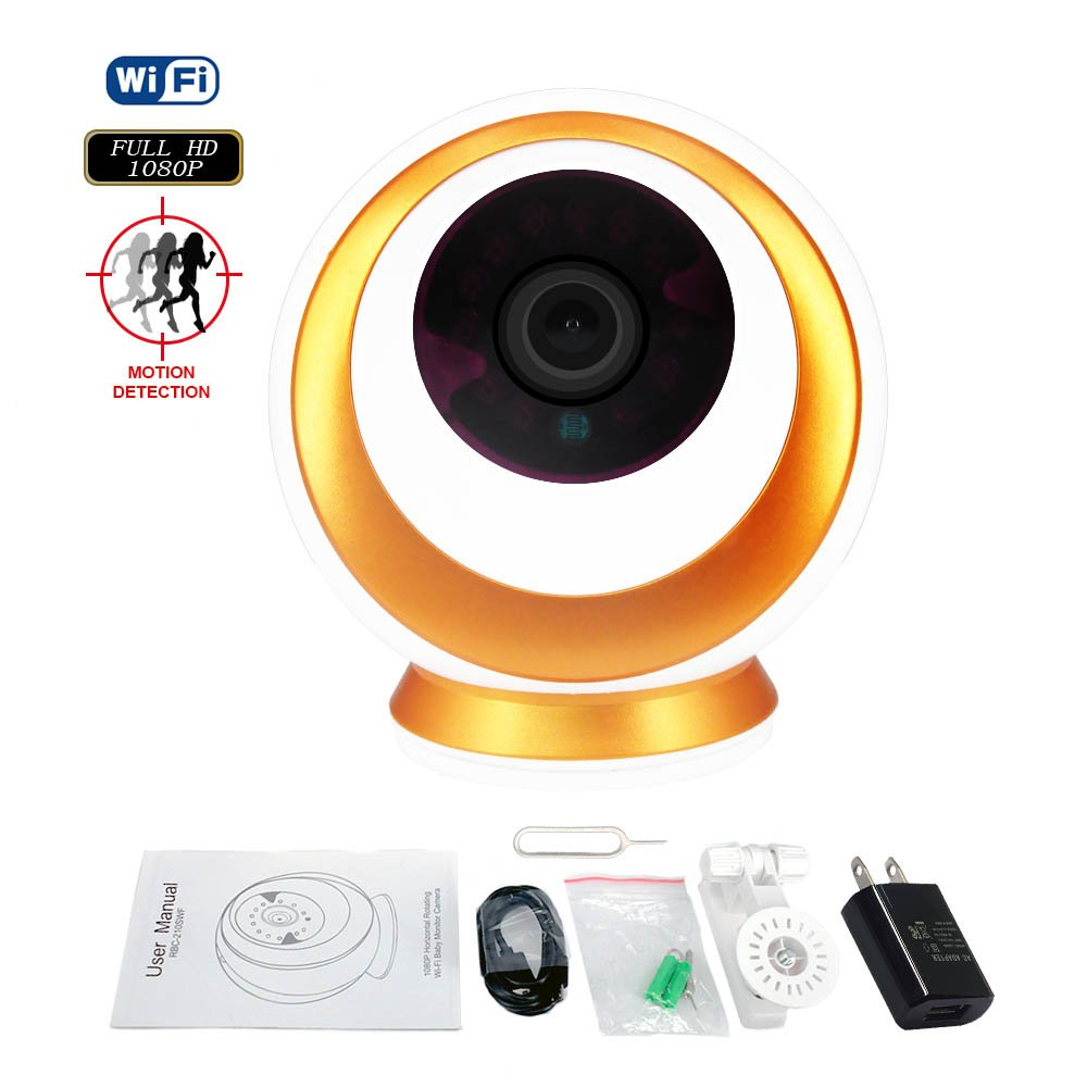 Wireless IP Camera with Night Vision Two-Way Audio 2.4GHz WiFi and Real 1080P FHD Motion Detect Video Surveillance Camera 355 Degree Horizontal Rotate for Baby/Elder/Pet/Nanny Remote Monitoring