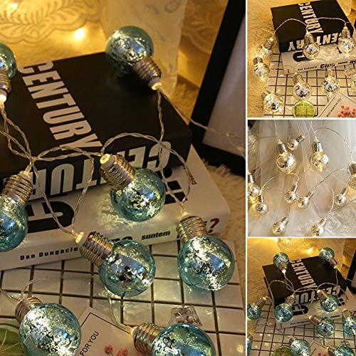 LED Fairy String Lights, LED Ball String Lights, Indoor Outdoor Xmas Lights Globe Fairy String Lights Starry Lights, for Garden, Home, Wedding 1.5/2/3/5m(3m 20 Bulbs,Warm White Light+Silver Bulbs) by Onner (Image #8)