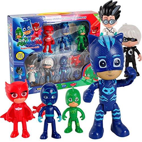 6PCS PJ Masks Toys Catboy Owlette Gekko Romeo Night Figure Toys Xmas Best Gift