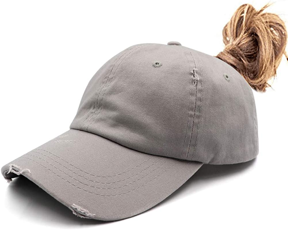 Ponytail Unconstructed Washed Dad Hat Messy High Bun Ponycaps Plain Baseball Cap
