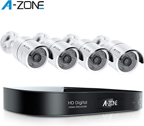 A-ZONE Home Security Camera System, 8-Channel Full HD 1080P Bullet AHD Surveillance System, 4 Outdoor Indoor 3.6mm Fixed Lens 2.0 Megapixel IP66 Waterproof Cameras,Free Remote,No Hard Drive