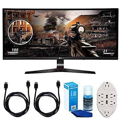 "LG 34"" WFHD (34UC79G-B) 21:9 UltraWide Curved IPS - 144hz Monitor w/ Accessories Bundle Includes, 2x 6ft HDMI Cable, Universal Screen Cleaner for LED TVs & Transformer Tap USB w/ 6-Outlet Wall Adapter"