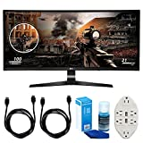 LG 34' WFHD (34UC79G-B) 21:9 UltraWide Curved IPS - 144hz Monitor w/Accessories Bundle Includes, 2 x 6ft HDMI Cable, Universal Screen Cleaner for LED TVs & Transformer Tap USB w/6-Outlet Wall Adapter