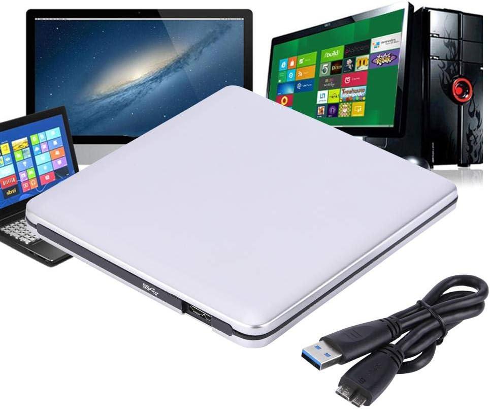 Externe Hochgeschwindigkeits-DVD//CD-RW-Laufwerke Silber externes optisches Laufwerk f/ür ME//2000//XP//WIN7//WIN8//WIN10//OS externer USB 3.0-Aluminium-CD//DVD-Brenner Bewinner Externes USB 3.0-Laufwerk