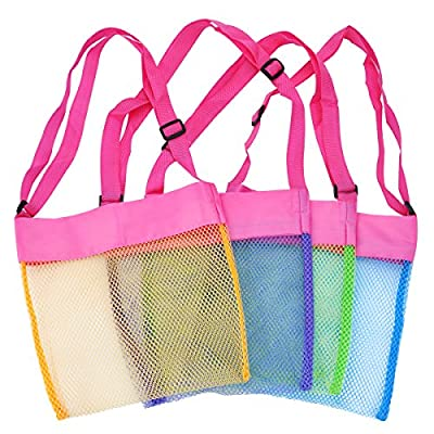 TECH-P Colorful Mesh Beach Bags Sand Away Beach Treasures Seashell Bags Toy Storage Bag
