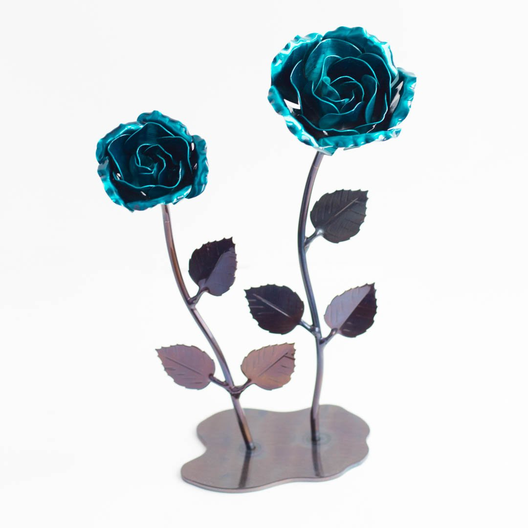 Personalized Hand Forged Wrought Iron Green Metal Roses (Set of 2)