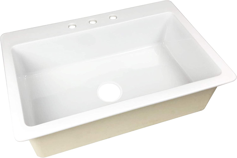 Sinkology SK411-33FC-B-IQ Jackson Drop 33 in. 3-Hole Single Bowl Crisp White Fireclay Kitchen Sink