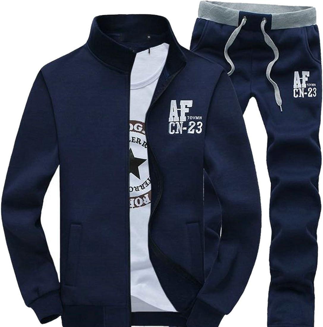 Bigbarry Men Stand Collar Letter Print Sport Sweatshirt and Pants Long Sleeve Tracksuit Set