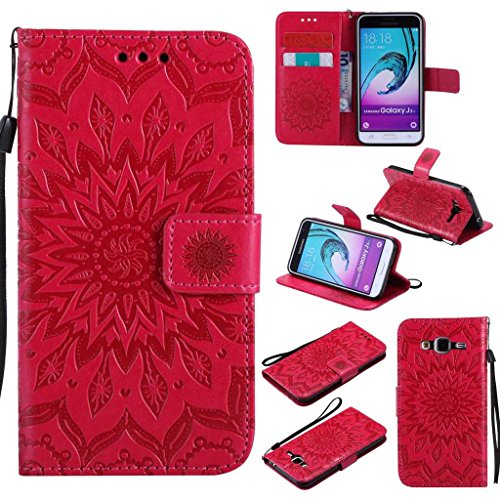 Galaxy J3 2016 Case, KKEIKO® Galaxy J3 2016 Flip Leather Case [with Free Tempered Glass Screen Protector], Shockproof Bumper Cover and Premium Wallet Case for Samsung Galaxy J3 2016 (Red)