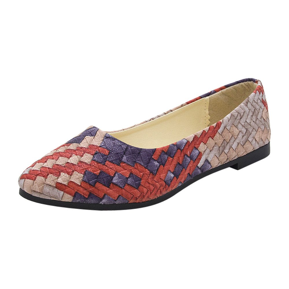 Nevera Women's Spring Slip On Ballet Flats Casual Multicolor Shoes Comfort Slipper Red
