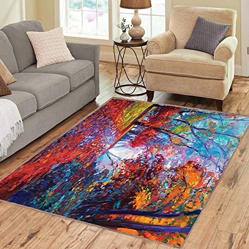 Rug,FloorMatRug,Country,AreaRug,Colorful Fairy Paint of Park in Fall View of The Earth in Oil Painting Style Print,Home mat,5'8
