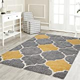 "Mod-Arte | Platinum Shag Collection | Plush Area Rug | Modern Contemporary Style | Grey & Yellow | 7'10""X10'2"""