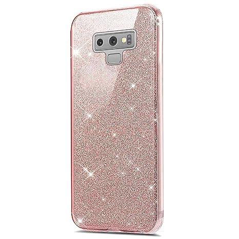 Felfy Carcasa Samsung Galaxy Note 9 Glitter Rosa,Funda ...
