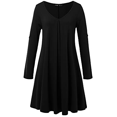 JayJay Women Casual Roll Up Sleeve V-Neck Simple Swing Tunic Shirt Dress