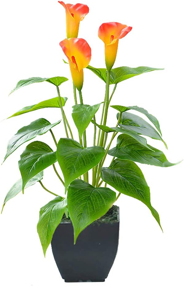 Artificial Flower Plants Calla Lily Faux Potted Plant with Black Pot Fake Bonsai Flower for Home, Office, Indoor and Outdoor Occasions Decor (Orange Fake Flower)