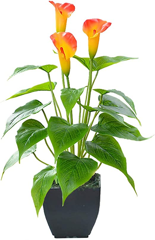 Amazon Com Artificial Flower Plants Calla Lily Faux Potted Plant