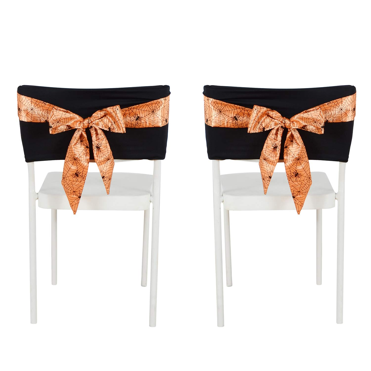 Besutolife Halloween Decorations Chair Covers with Decorative Straps Spiderweb Elastic Orange Chair Covers for Halloween, Scary Movie Nights, Dinner Parties or Everyday Use