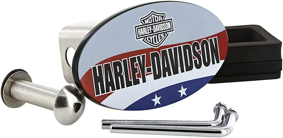 Harley-Davidson Wordmark U.S.A Patriotic Flag Theme UV Printed bar /& Shield Gray Finish Metal Hitch Cover