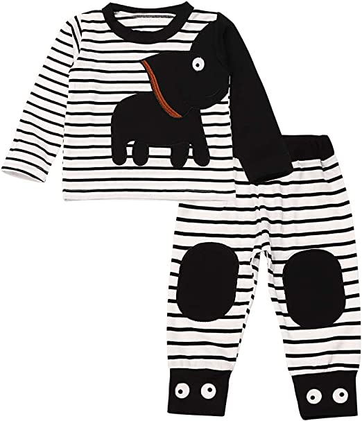 Infant Baby Boy Clothes Pullover Sweater Striped Elephant Floral Tops Pants Two-Piece Sweatshirt Sets
