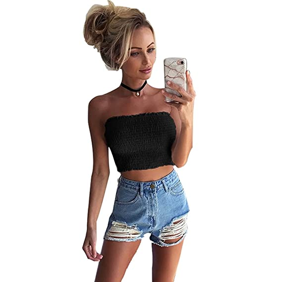 3d4a1d57db JEELINBORE Ladies Shirred Bandeau Boob Tube Bra Strapless Vest Sheering Crop  Top Summer Mini Shirt  Amazon.co.uk  Clothing