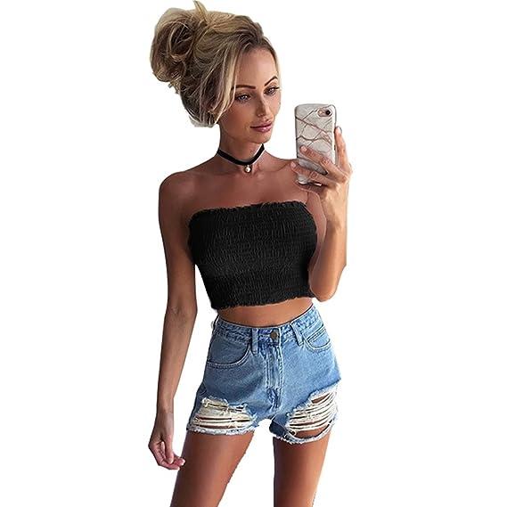 3a911e78512 JEELINBORE Ladies Shirred Bandeau Boob Tube Bra Strapless Vest Sheering Crop  Top Summer Mini Shirt  Amazon.co.uk  Clothing