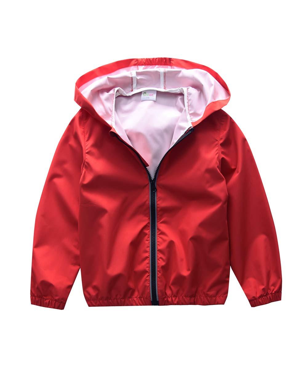 Hiheart Boys Girls Outwear Hooded Rain Jacket Kids Lightweight Coat Red 6/7