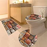 3 Piece large Contour Mat setAntique Empty With Two Doors Armchair And Simple Mirror With Golden Color Frame Extra Bathroom Rugs Contour Mat Lid Toilet Cover