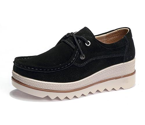 Mocasines de Loafer, Mujer Plataforma Flat Casual Primavera Verano Zapatos de Cuña 5cm Zapatillas Negro 37: Amazon.es: Zapatos y complementos