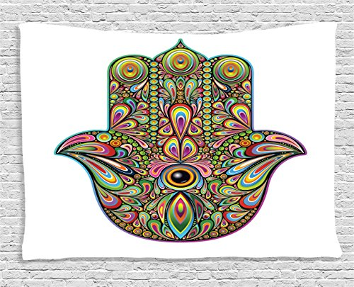 (Ambesonne Hamsa Decor Collection, Psychedelic Pattern in Hamsa Hand of Fatima Spiral and Rotary Effects Boho Ethnic Artsy Print, Bedroom Living Room Dorm Wall Hanging Tapestry, 60 X 40 Inches, Multi)