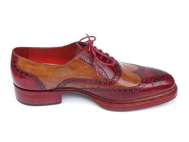 Paul Parkman Men's Triple Leather Sole Wingtip Brogues Bordeaux & Camel (ID# 027): Amazon.co.uk: Shoes & Bags