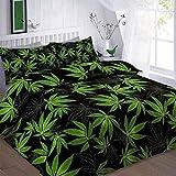 Rimi Hanger Cannabis Marijuana Weed Leaf Printed Single Double King Size Duvet Pillow Case Bedding Set Black King Size