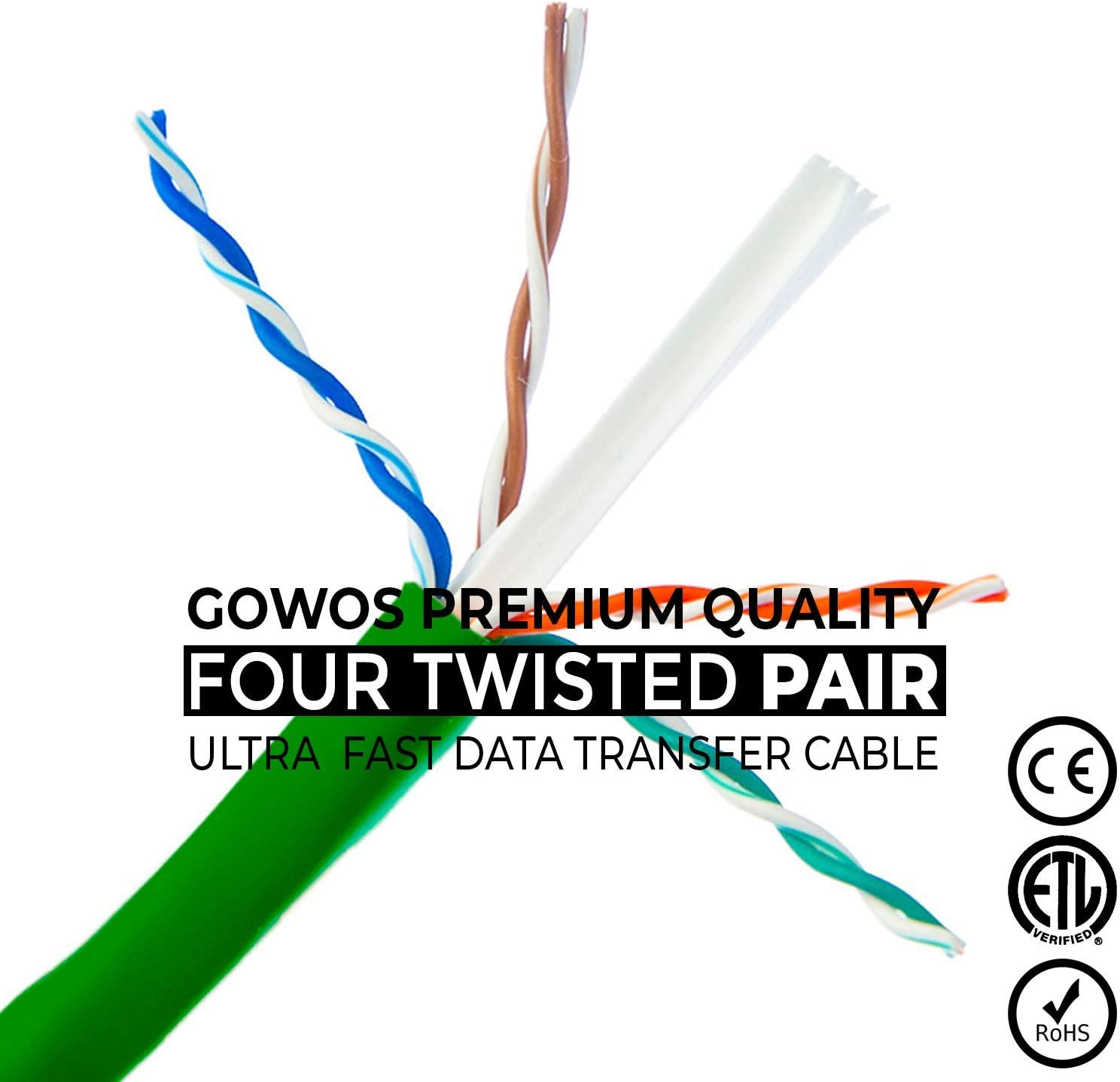 Cat5e Ethernet Cable Computer Network Cable with Snagless Connector UTP GOWOS 10-Pack 1 Feet - Yellow RJ45 10Gbps High Speed LAN Internet Patch Cord Available in 28 Lengths and 10 Colors