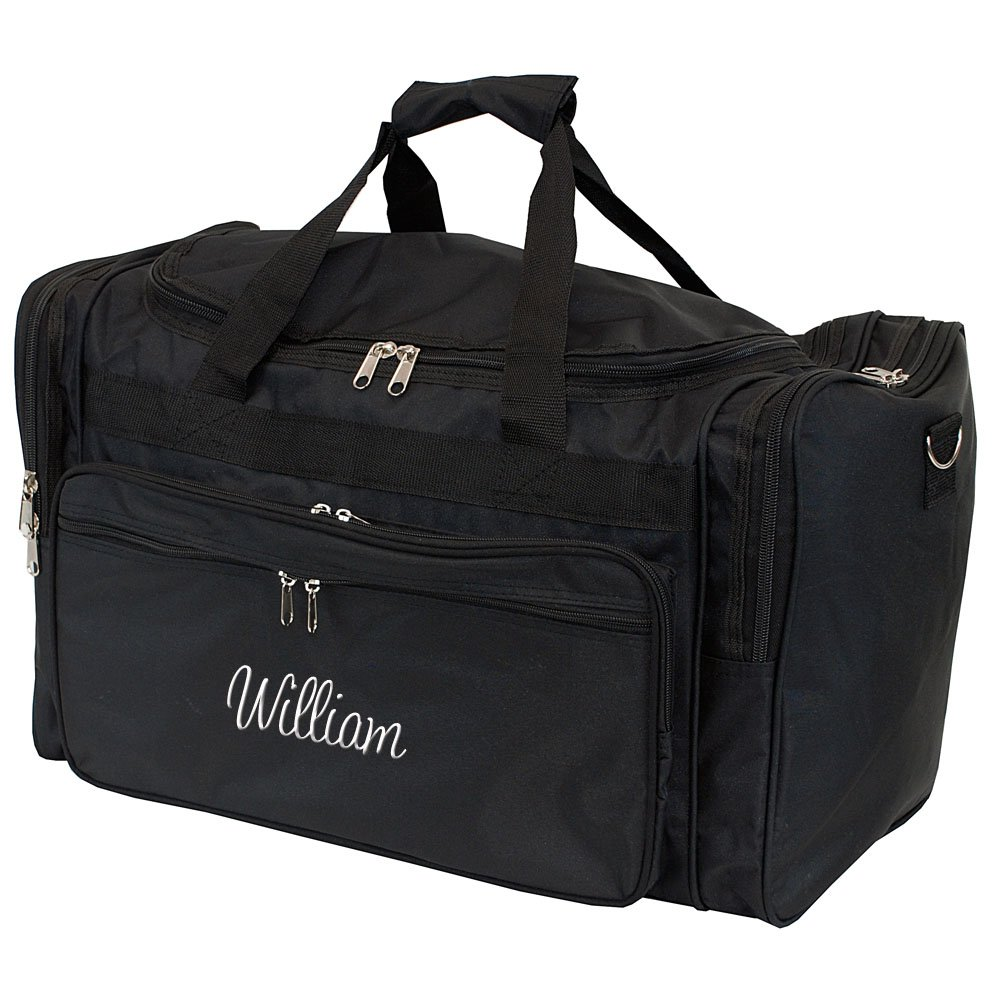 Personalized Mens Large Black Overnight | Gym Duffle Bag 22 Inch