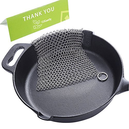 (Cast Iron Cleaner Stainless Steel 8x6 Large Chainmail Scrubber for Lodge Cast Iron Skillet, Dutch Oven, Griddle, Grill Pan, Cookware & Pot. Tired of Dirty Sponges? Try Eco-Friendly Cast Iron Scraper!)