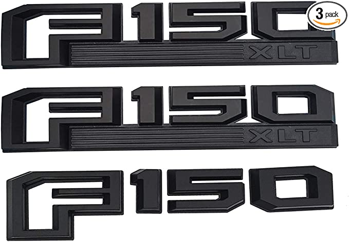 3Pcs F150 LARIAT Emblems Fender Tailgate Sticker 3D Snap Type Badge Nameplate Set Replacement For Ford 15-17 F-150 Black red