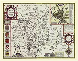 John Speed Map Of Worcestershire 1611 30 X 25 Large Photographic
