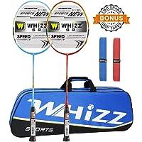 Graphite Raquette de Badminton Set 87g avec Sac dès Whizz (Rouge/Bleu)
